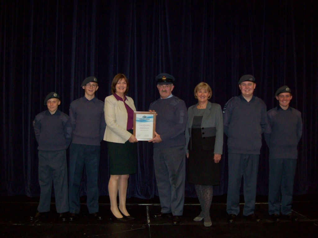 MidKent College Principal Sue McLeod presents the Certificate of Adoption to 1039 (Gillingham) Squadron Officer Commanding Flight Lieutenant Paul Collins