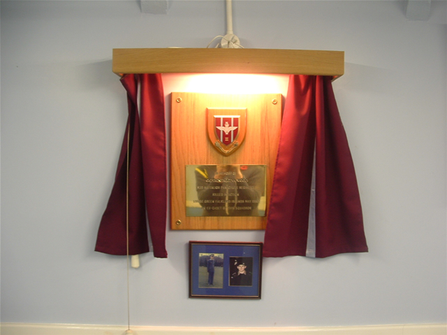 Memorial to David Wood in the main hall at 1039 (Gillingham) Squadron.